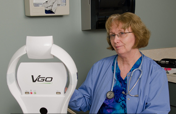 A nurse consult with a patient using VGo robotic telepresence