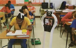 Lyndon in class using his VGo (photo credit - Sports Illustrated)
